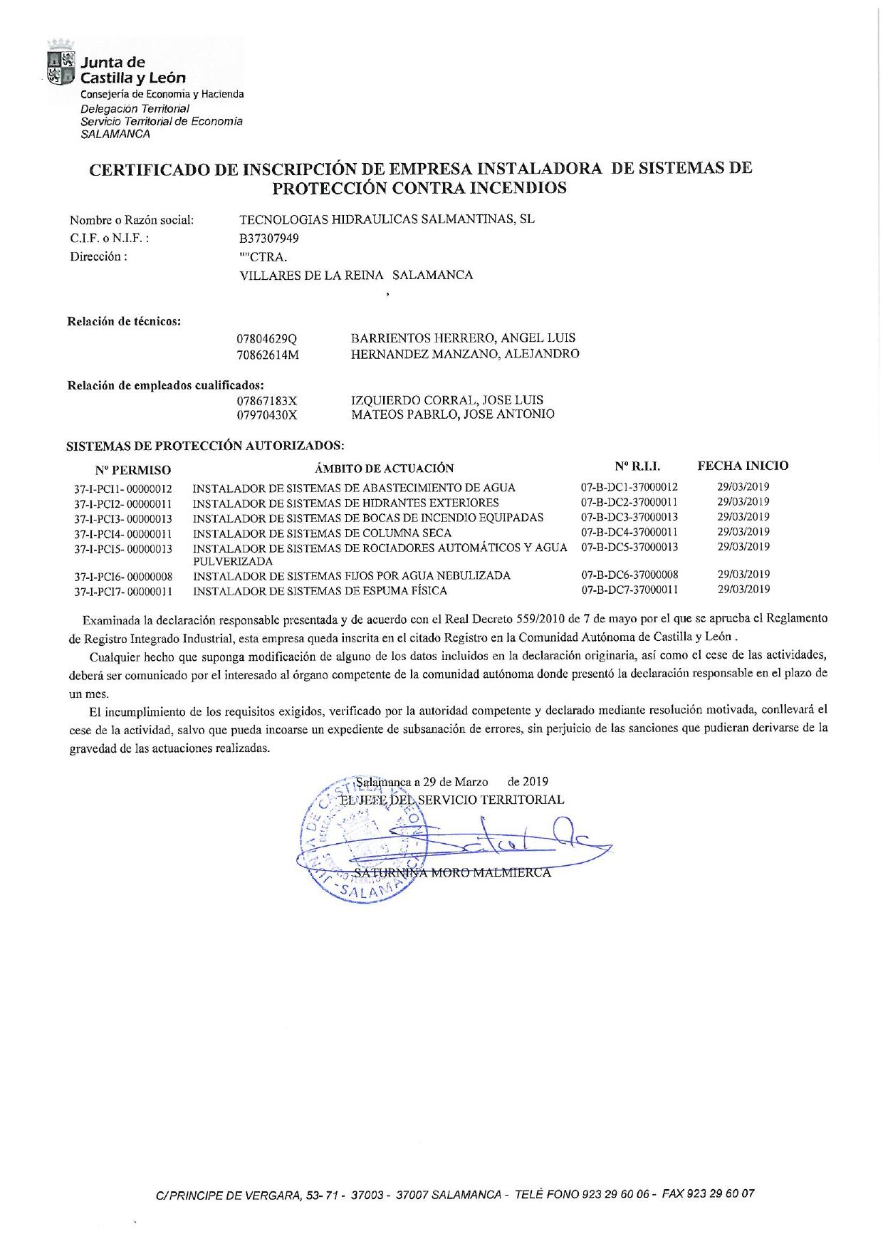 Certificado contraincendios